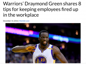 Glassdoor using content from Warriors Draymond Green in a marketing email.
