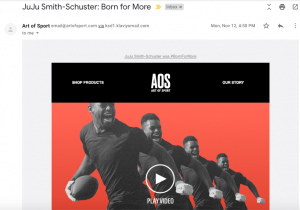 Art of Sport's marketing email featuring content from NFL star Juju Smith-Schuster.