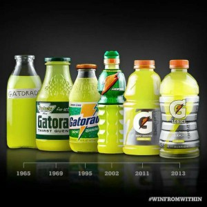 Gatorade has evolved throughout the years from a basic glass bottle to its current packaging