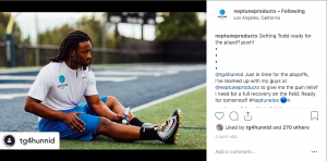 Neptune Ice reusing sponsored content from NFL star Todd Gurley.