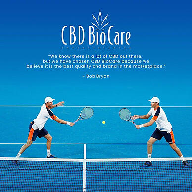 An advertisement from CBD BioCare featuring two of their athlete endorsers, tennis stars and brothers Mike and Bob Bryan.