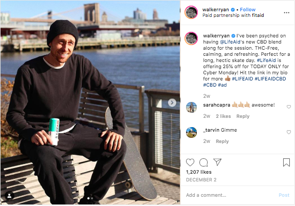 Skateboarder Walker Ryan making a sponsored post for LifeAid and their CBD blend product.